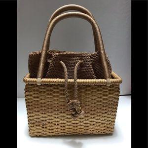 The Sak Straw Woven Drawstring Purse Handbag Sweet